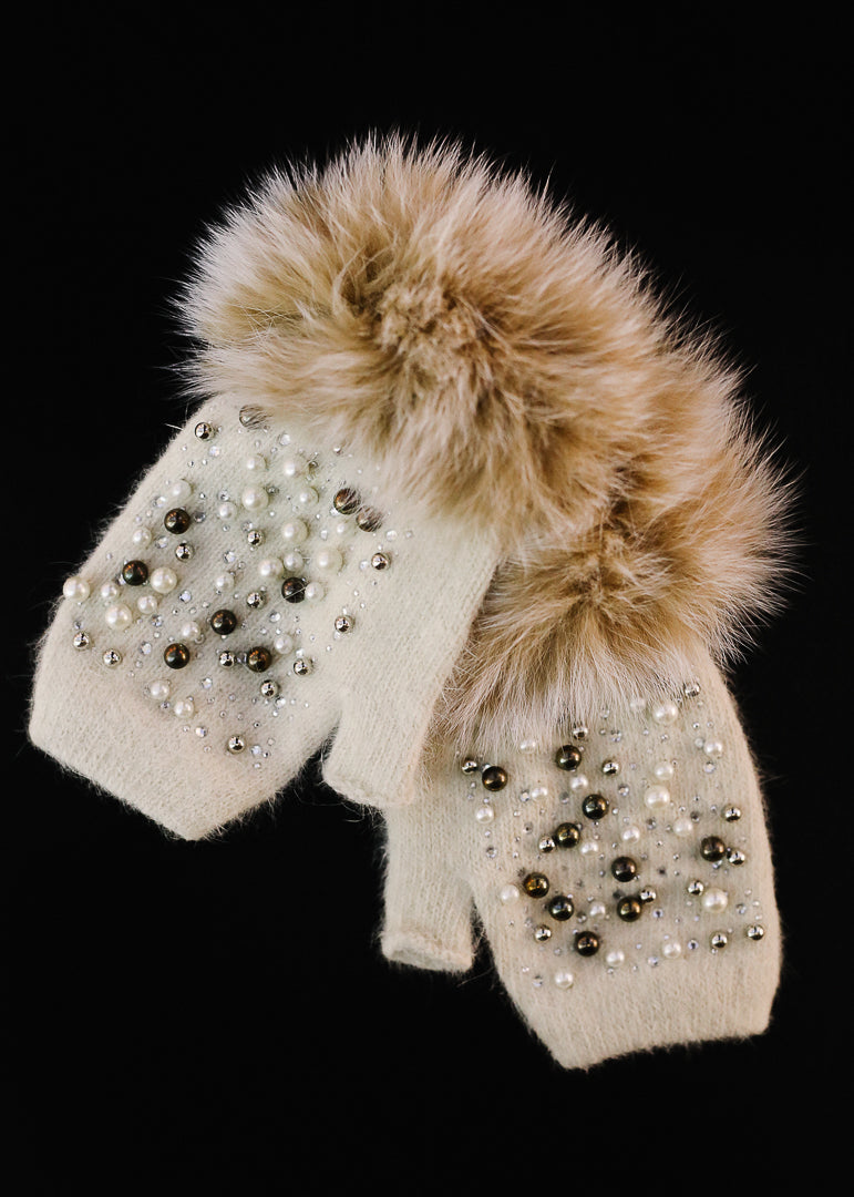 White Jeweled Knit Hand Warmer w/ Fox Trim