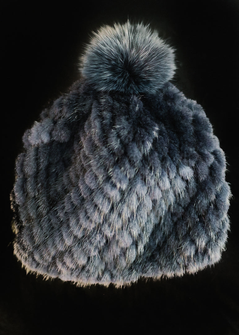 Grey Knit Mink Hat w/ Fox Trim Pom