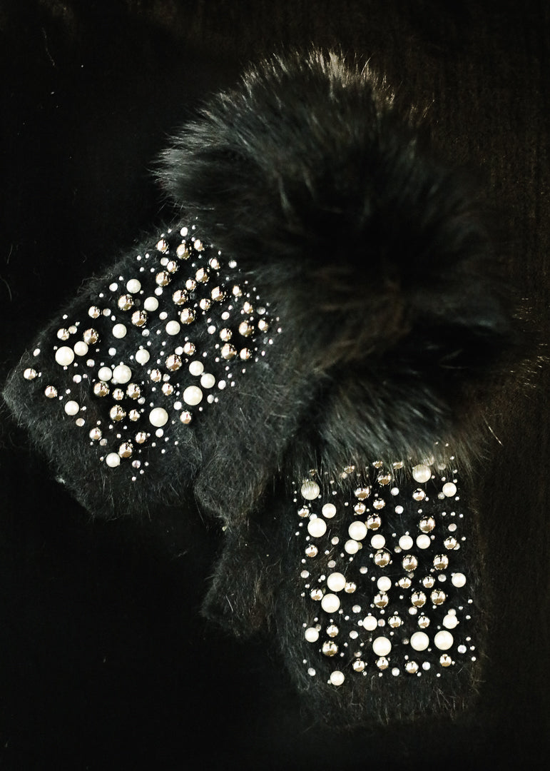 Black Jeweled Knit Hand Warmer w/ Fox Trim