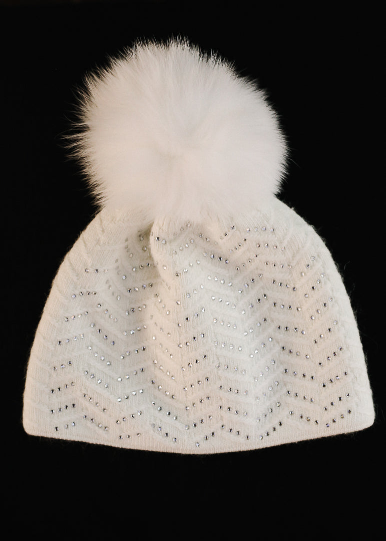 White Knit Jeweled Hat w/ Fox Trim Pom