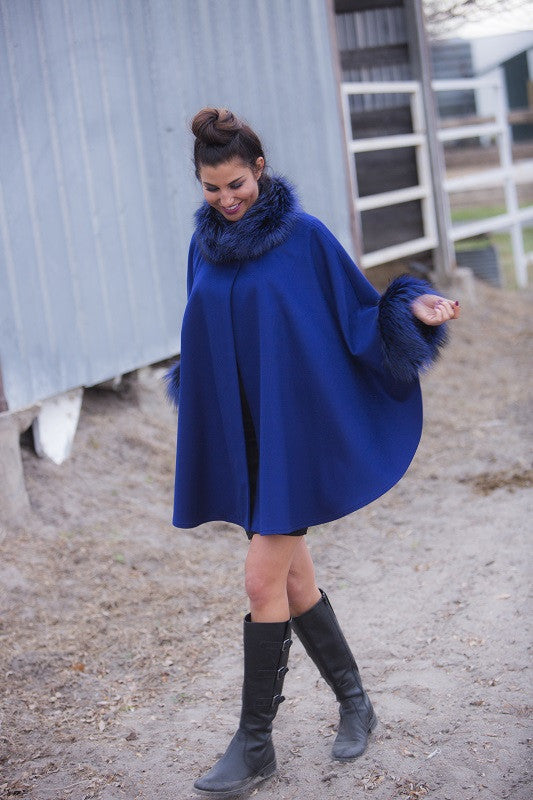 Dyed Cobalt Loro Piana Wool with Fox Trim Fur Cape