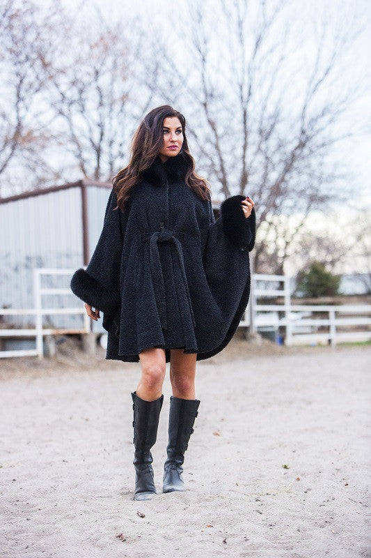 Dyed Charcoal Alpaca with Fox Trim Fur Cape