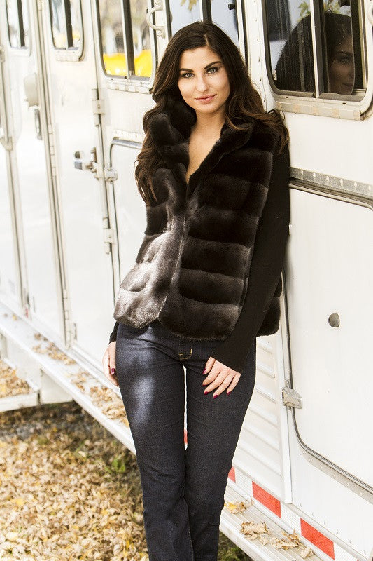 Brightner Added White Mink Horizontal Fur Vest