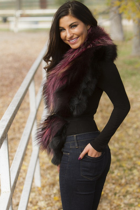 Dyed Wine Silver Fox Fur Collar Accessory