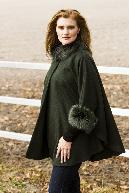 Dyed Green Loro Piana Wool with Fox Trim Fur Cape