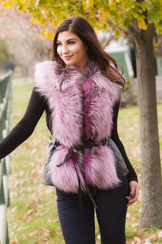 Dyed Pink Silver Fox Fur Vest