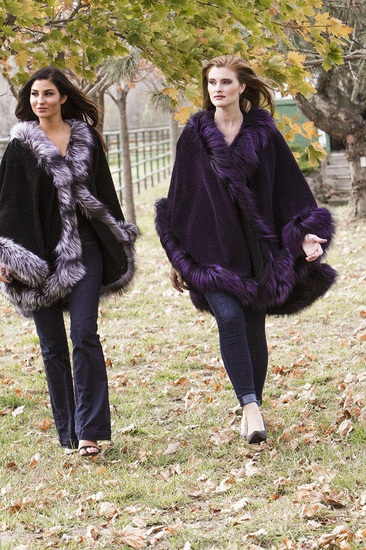 Dyed Purple Alpaca with Fox Trim Fur Cape