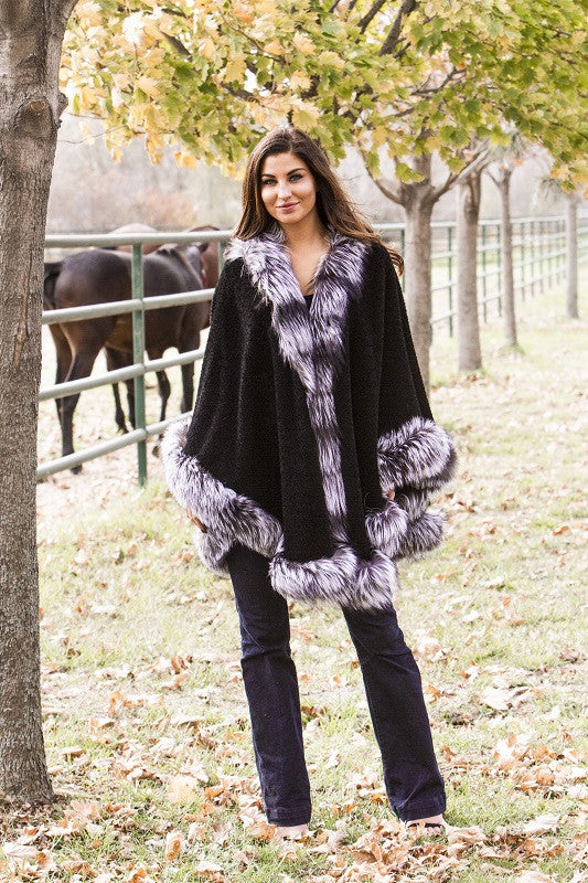 Dyed Black Alpaca with Silver Fox Trim Cape
