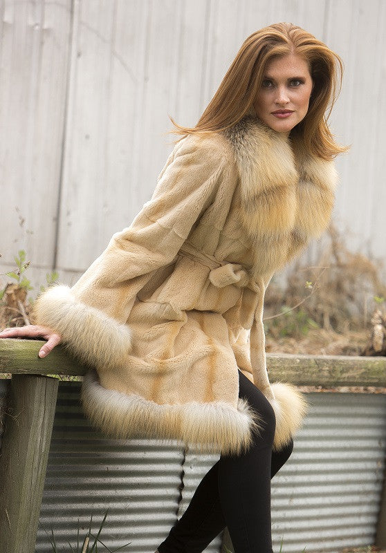 Dyed Beige Plucked Mink with Golden Island Fox Trim 3/4 Belted Fur Coat
