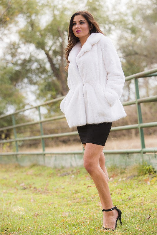 Natural White Male Mink Fur Jacket