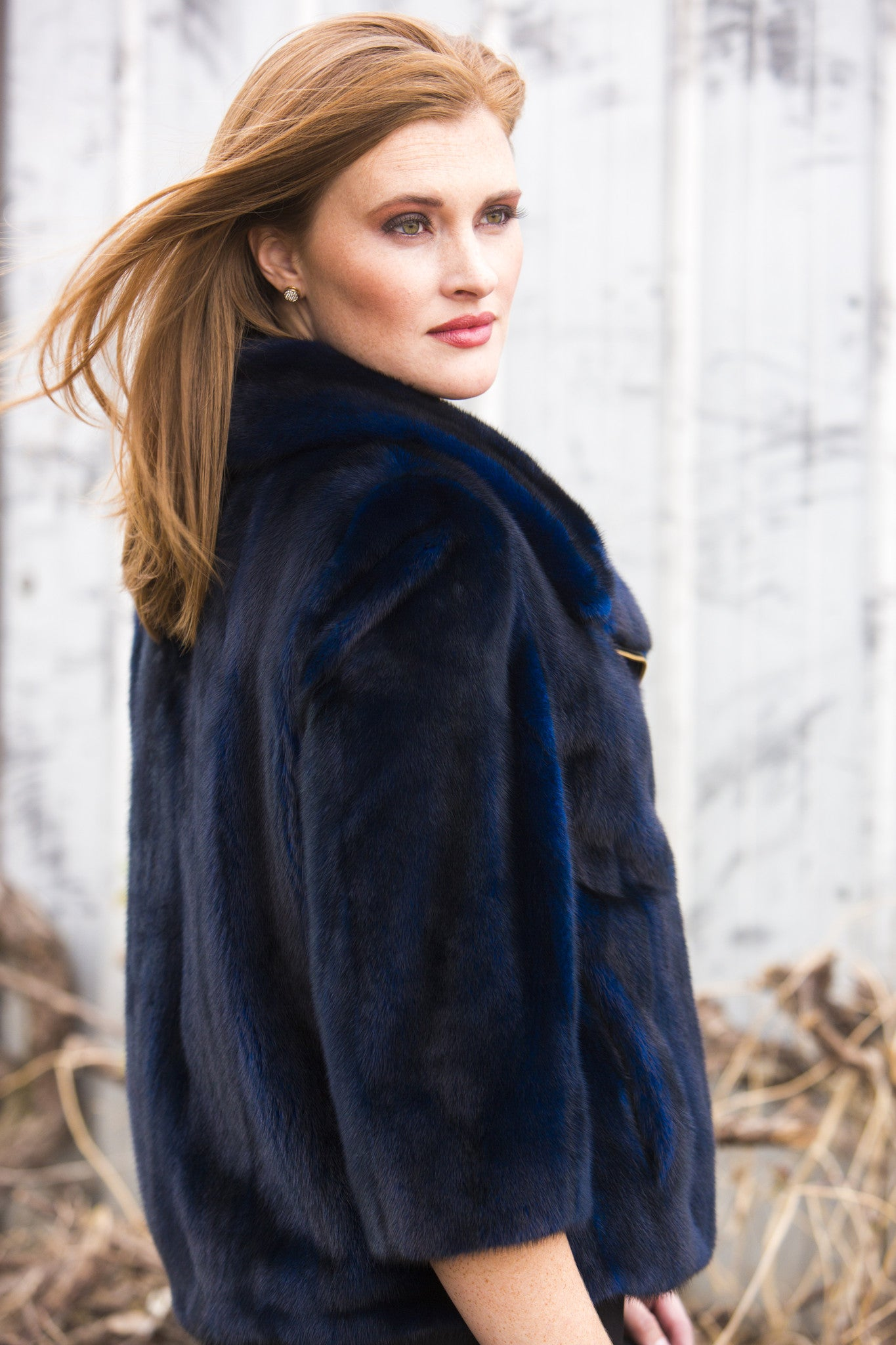 Dyed Navy Blue Mink Fur Jacket