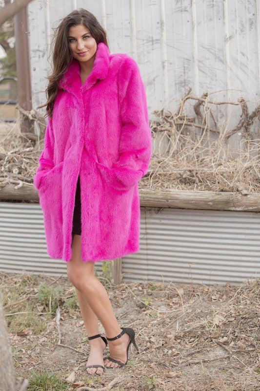 Dyed Fuchsia Mink 3/4 Fur Coat