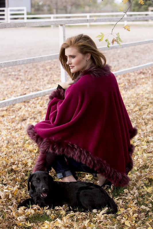 Dyed Ruby Alpaca with Fox Trim Fur Cape