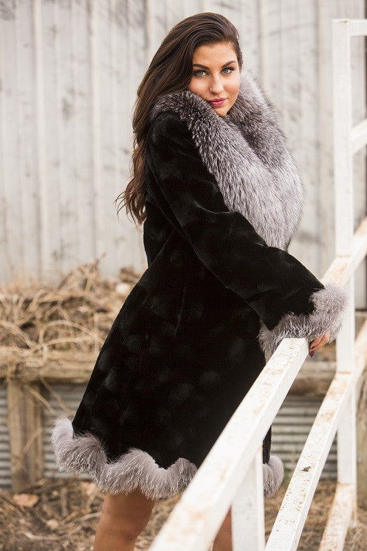 Dyed Black Sheared Mink Oval Sides Fur Jacket with Natural Silver Fox Trim