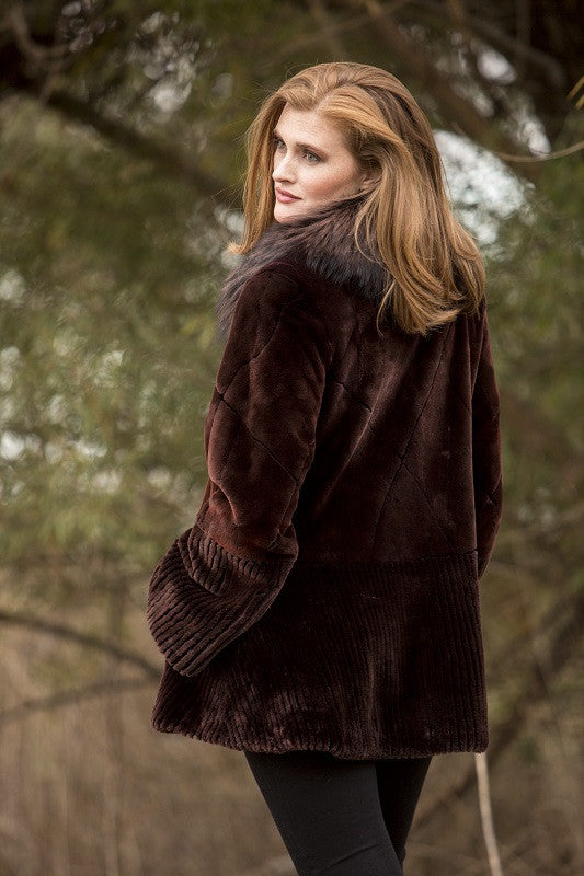 Dyed Satin Brown Brisa Sheared Beaver with Fox Trim Fur Jacket