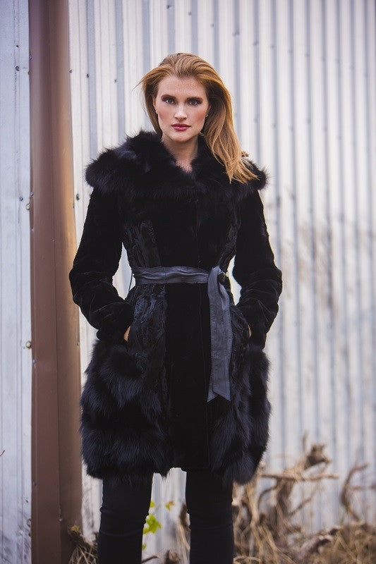 Dyed Black Sheared Mink and Swakara with Fox Trim 3/4 Fur Coat