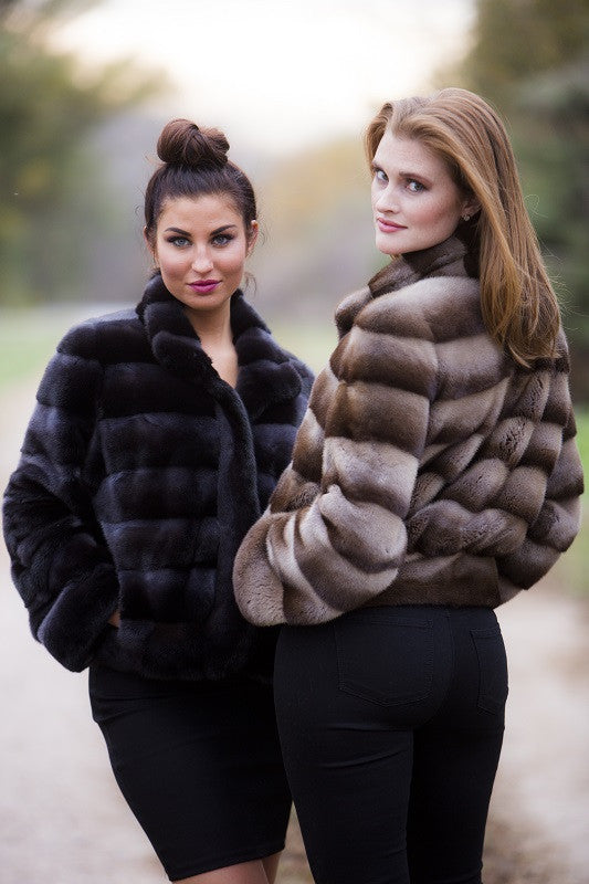 Dyed Steel Charcoal Mink Horizontal Fur Bolero