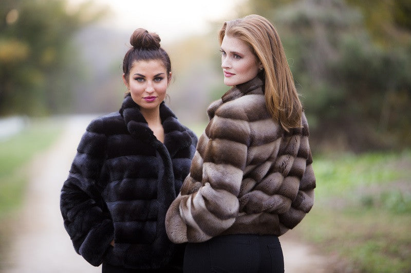 Dyed Camel or Steel Charcoal Mink Horizontal Fur Bolero