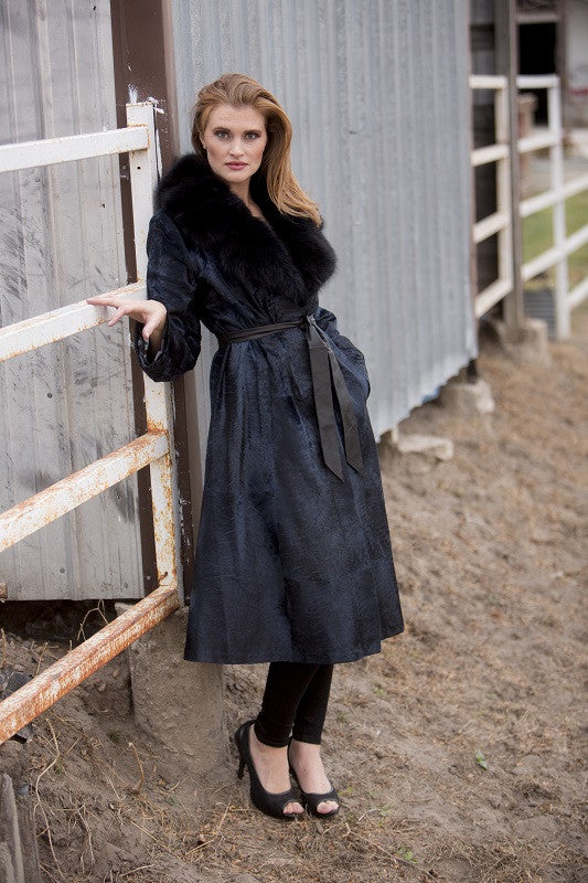 Dyed Blue Broadtail with Sable Trim 7/8 Fur Coat