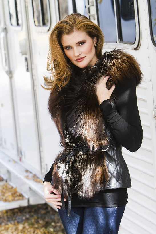 Dyed Brown Silver Fox Fur Vest