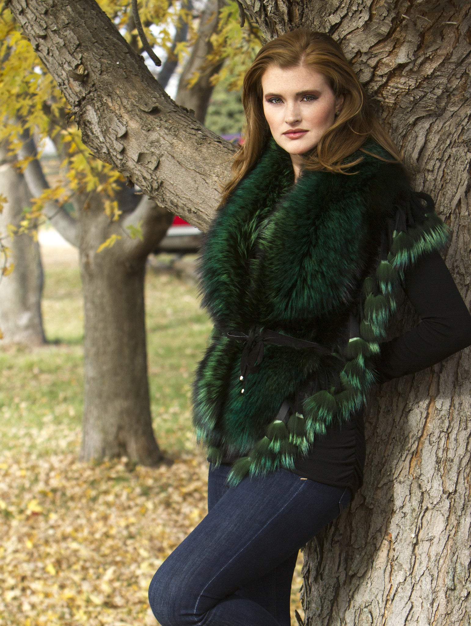 Dyed Emerald Green Silver Fox Fur Collar Accessory