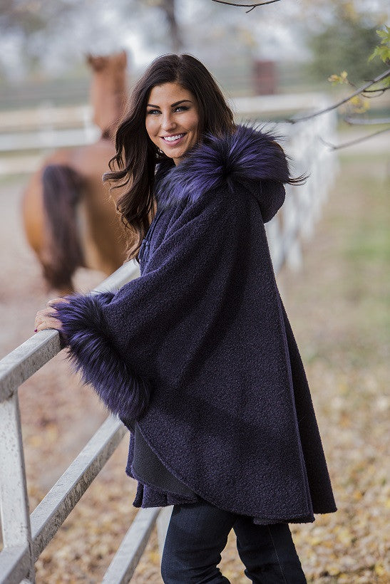 Dyed Purple Alpaca Fur Hooded Cape with Fox Trim
