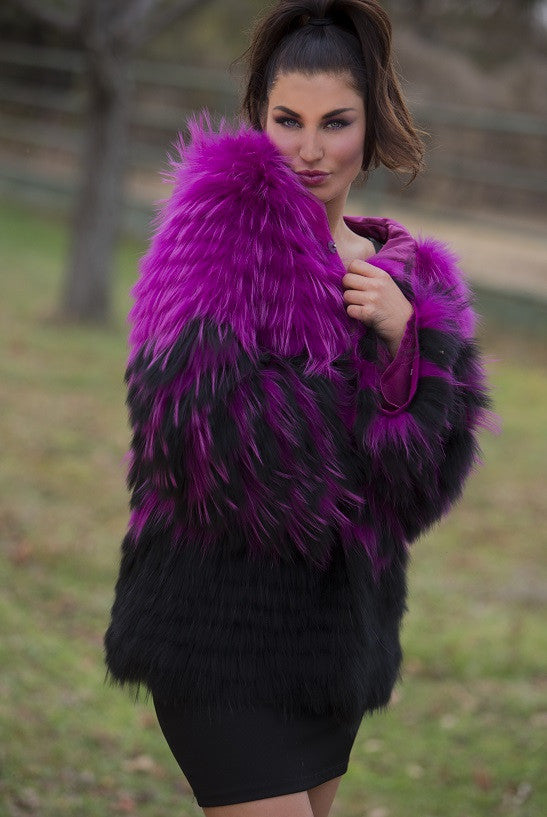 Dyed Pink Raccoon Hooded Fur Jacket with Black Design