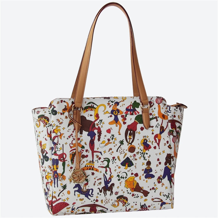 Piero Guidi Magic Circus - 12 x 11 x 5 in. White Large Tote