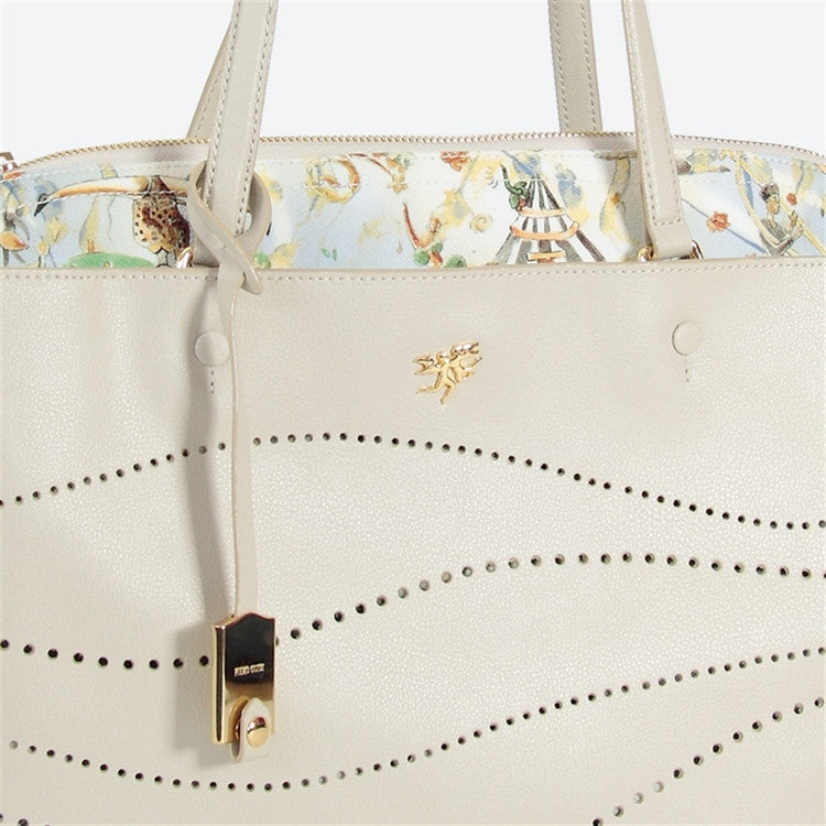 Piero Guidi Cherie Leather - 13 x 10 x 4 in. Sunlight Ivory Tote Bag