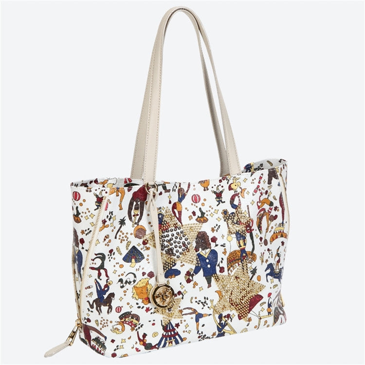 Piero Guidi Magic Circus - 12 x 9 x 5 in. Vintage White Tote