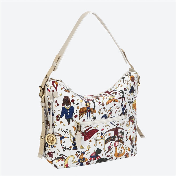 Piero Guidi Magic Circus - 12 x 9 x 5 in. Vintage White Hobo Bag