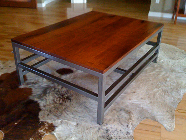 Heritage Mesquite Coffee Table with metal base