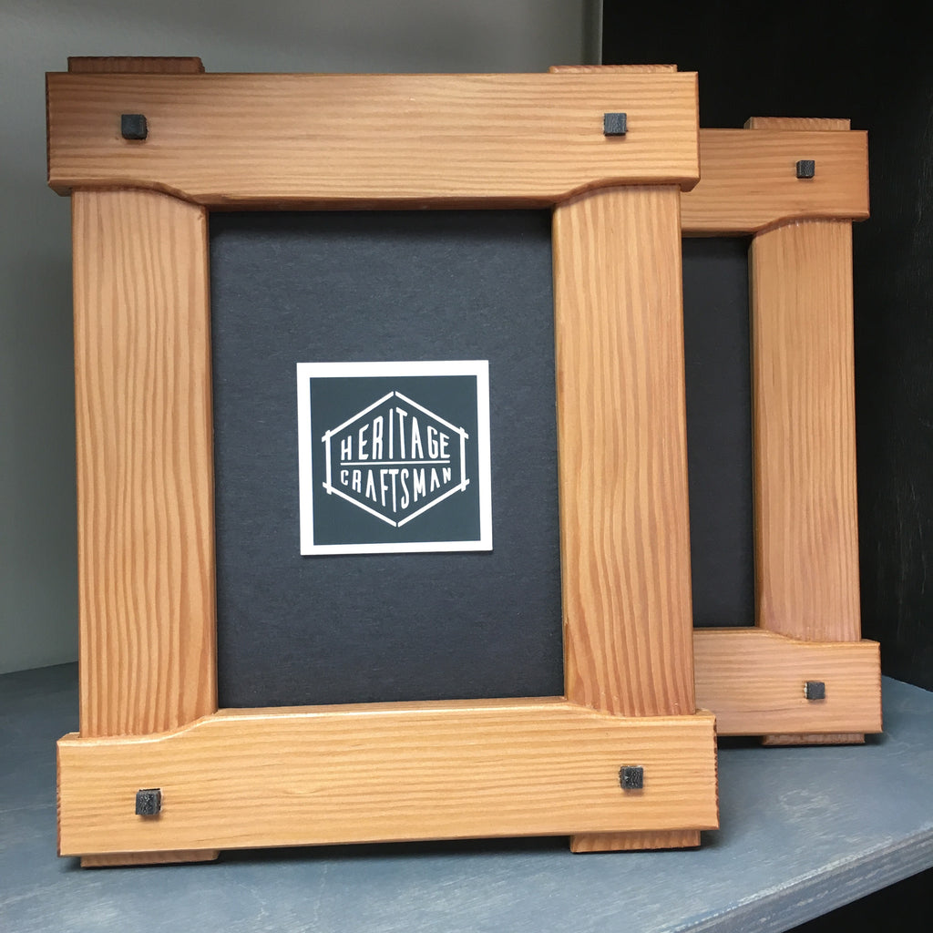 5x7 Greene and Greene Craftsman cloudlift frame - Reclaimed Fir with Wenge plugs