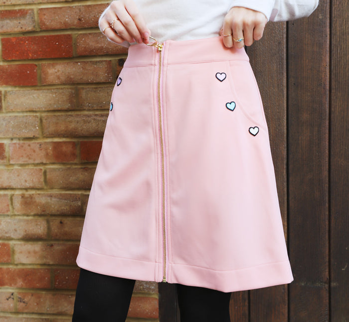 Zipper Front Pink A-Line Skirt