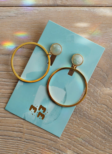 Gold Amazonite Acqua Hoop Earrings