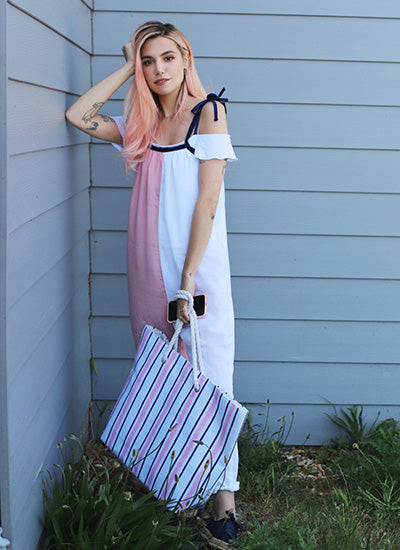 Split Jumpsuit in pink and white
