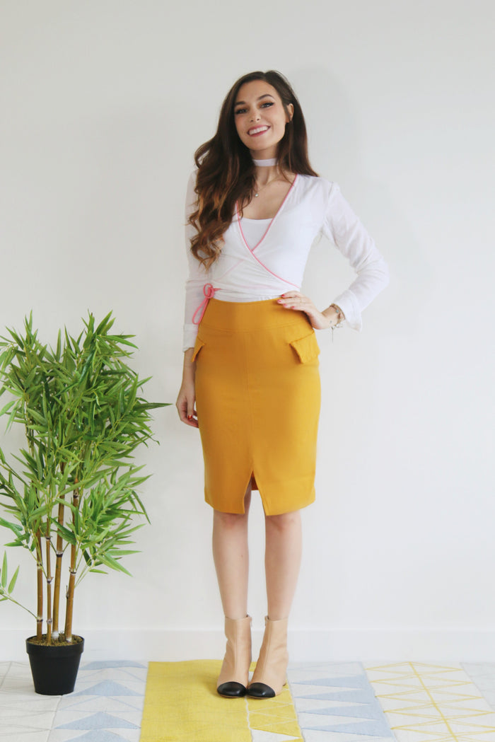 Mustard Yellow Wool Skirt