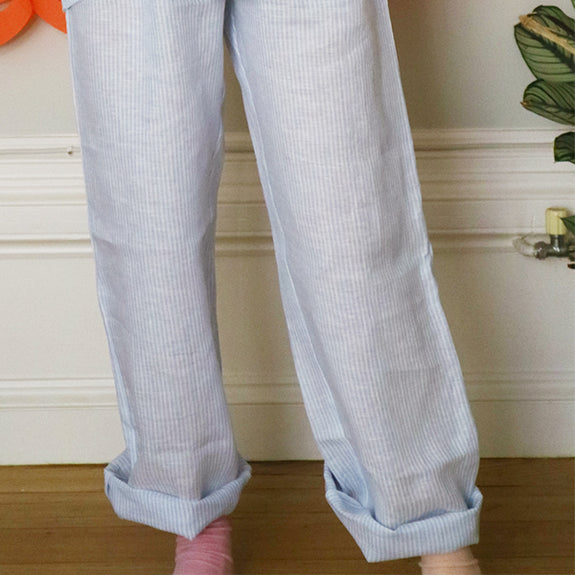 Striped Linen PJ Bottom