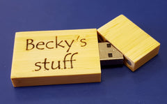 Engraved wooden USB stick