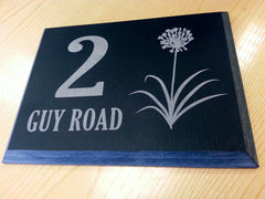 Engraved slate house sign