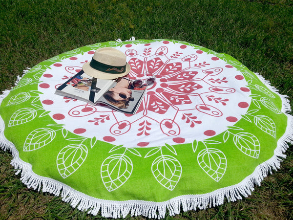 Green Meadow Round Beach Towel 100% Cotton Throw or Yoga Mat