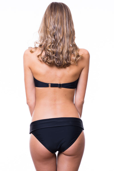 Emma Brown Bandeau Top Quincy Foldover Bottom Swimsuit (Black)