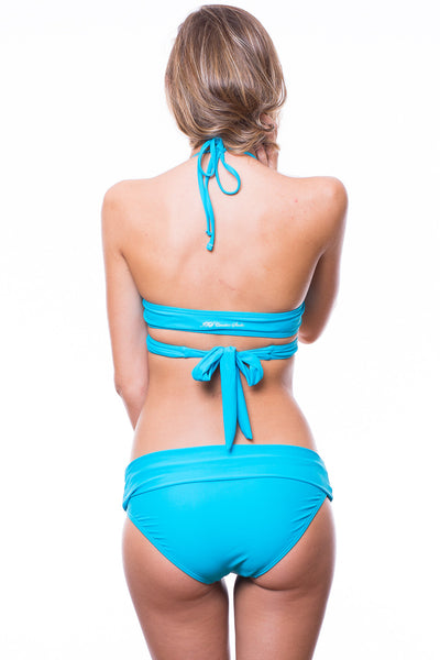 Belle Crossover Top Foldover Bottom Swimsuit (Teal)