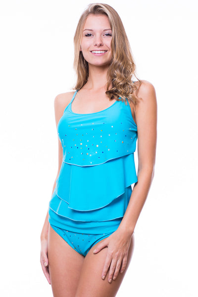 Chloe Tankini Top Foldover Bottom Swimsuit (Teal)