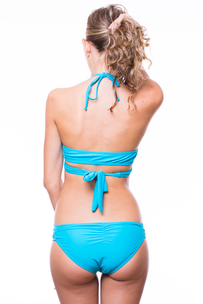 Emma Brown Crossover Top Quincy Tab Bottom Swimsuit (Teal)