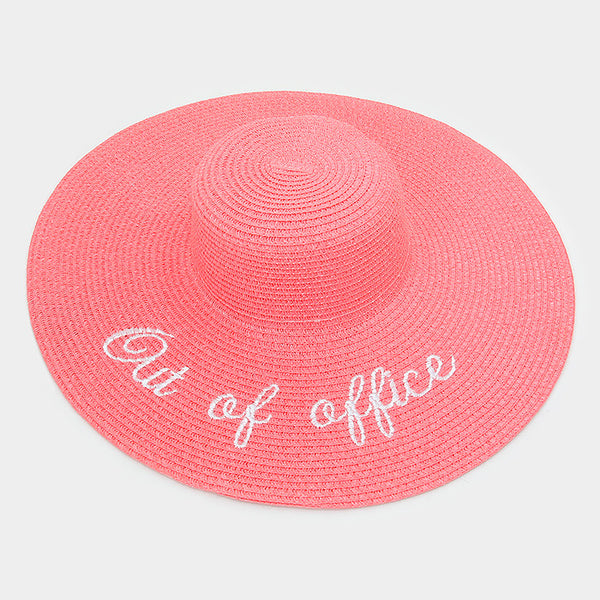 """Out of Office"" Message Wide Brim Beach Hat"
