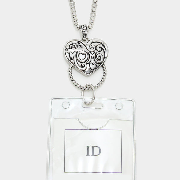 """Mom"" heart ID holder on a Long Chain Necklace Fashion Jewelry (Silver)"