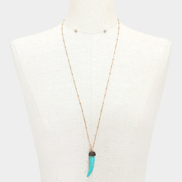 Long Necklace with a Turquoise Horn Pendant Fashion Jewelry