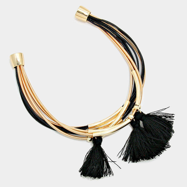 Metal Cord Multi Chain Tassel Bracelet Magnetic Closure Fashion Jewelry