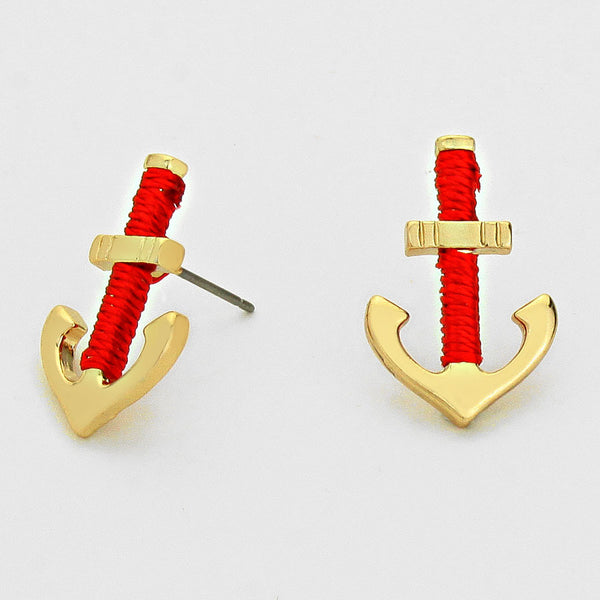 Anchor Thread Wrapped Stud Earrings Fashion Jewelry (Gold)